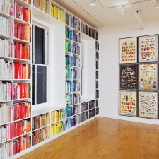 Installation view, The Rest of The Room and Compendium (Distribution), 2011, Steel shelving. 78 x 48 x 24 inches